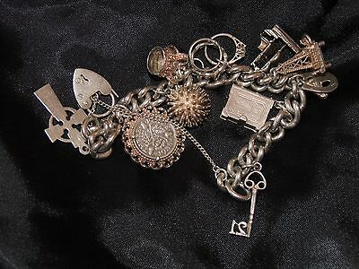 Vintage 62g Sterling Silver English Charm Bracelet -11 Charms