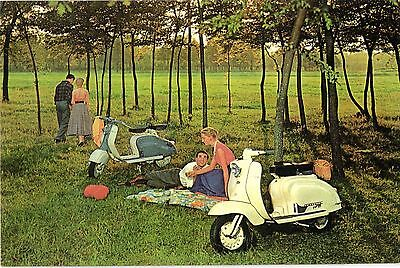Vespa scooter couples picnicking modern larger repro postcard