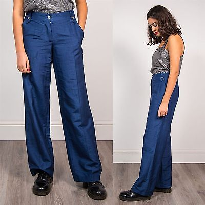 Womens Vintage Blue High Waist Boot Cute 90's Trousers Casual Wide Leg Flare 12