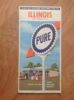 Illinois Map By Pure Oil 1959