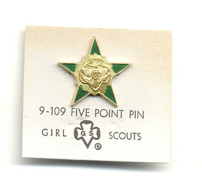 1950s 5-Point Star Senior Intermediate GIRL SCOUT Pin NEW on Card Special GIFT