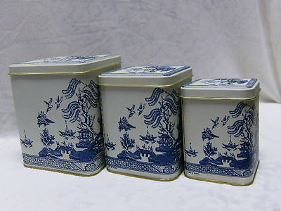White & Blue Willow Canister Tins Three Sizes In Square Shape