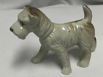 Vintage White & Brown Airedale Terrier Dog Porcelain Figurine Made In Japan
