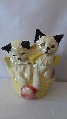 McCoy Pottery 1959 Rare Two Kittens in the Basket Cookie Jar #J59.