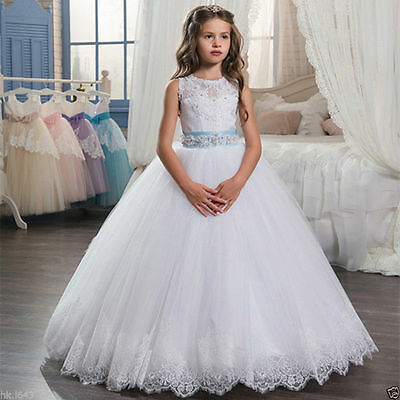 New Lace 2017 Flower Girl Dresses Kids Birthday Weddings Holy Communion Gowns