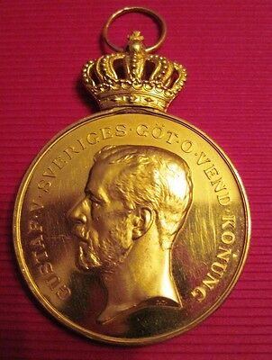 Sweden Swedish RARE GOLD , 18k Medal for Loyalty and Diligence!Named and  Marked