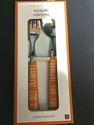 Pottery Barn Kids THANKSGIVING UTENSIL Food Kitchen Dining Table GIVE THANK 2016