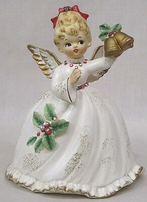 Vintage Christmas Napco Angel Planter Rhinestone Trimmed Gown Gold Bells X6966