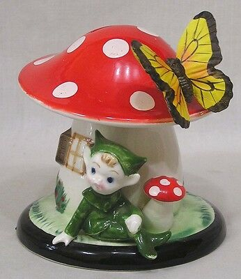 Vintage Lefton Pixie and Mushroom Still Bank w Butterfly on Spring NICE!