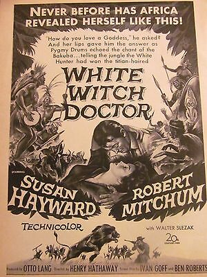 White Witch Doctor, Susan Hayward, Robert Mitchum, Vintage Promotional Ad