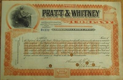 AMOS WHITNEY-Signed 'Pratt & Whitney Company' 1890 Stock Certificate - Aviation