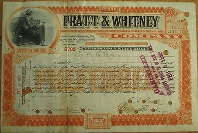 FRANCIS ASHBURY PRATT-Signed 'Pratt & Whitney Co.' 1896 Stock Certificate-Issued
