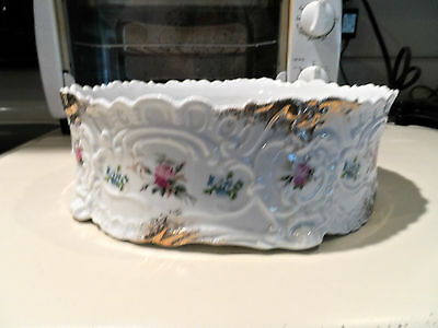 Vintage Hand Painted w/Pink Roses&For-Get-Me-Knots Serving Bowl-Carlsbad-Austria