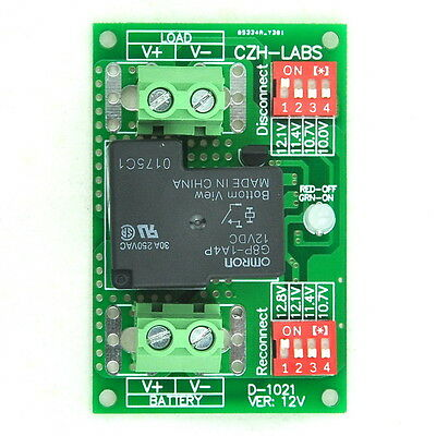 Low Voltage Disconnect Module LVD, 12V 30A, Protect/Prolong Battery Life.