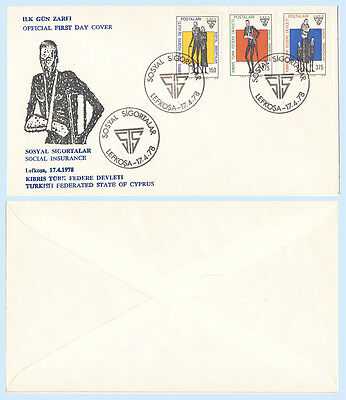 North Cyprus (Turkey) SG #60-62 1978 Social Security First Day Cover FDC