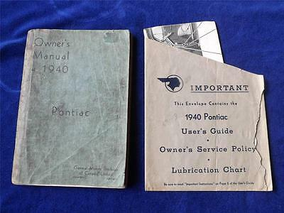 Owners Manual + Lubrication Chart 1940 Pontiac General Motors Products Canada