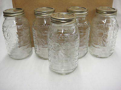 Longaberger One Quart Blue Ribbon Canning Jars Lot of 5 Made in USA Excellent
