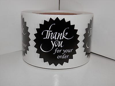 "Thank You For Your Order Label 1.5"" Starburst chaukboard style 250/rl"