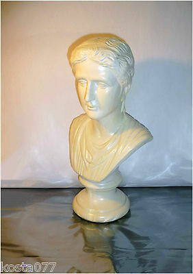 "Reproduction Roman Classical Ceramic Bust Head Sculpture, 15"" tall"