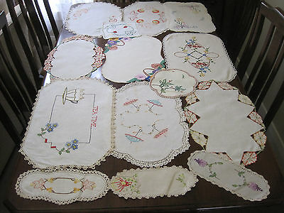 14 Beautiful Large Embroidered Table Centres And Doilies