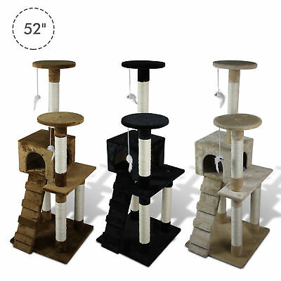 "52"" Multi-level Tower Cat Tree Kitten Condo House Pet Furniture"