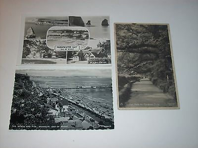 3 x Isle of Wight postcard Freshwater Bay Beach & Pier Greetings Social History