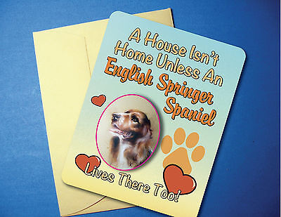 """A House Isn't Home"" English Springer Greeting Card/Blank Note Card - sku# AH-21"
