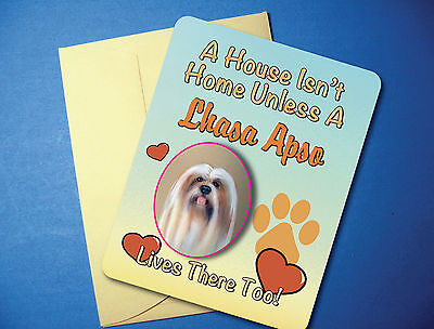 """""""A House Isn't Home"""" Lhasa Apso - Greeting Card / Blank Note Card - sku# AH-24"""
