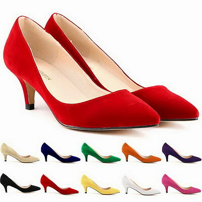 Women Low Mid Heels Shoes Leather Pointed Dress Work Pumps Shoes 6cm New Arrival