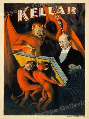 Kellar Reads with the Devil 1890s Classic Magic Show Poster - 20x28