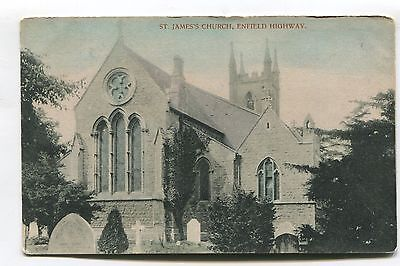 Enfield Highway - St James' Church - early postcard