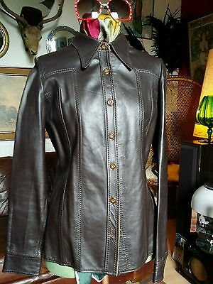 Stunning Vtg 70s Leather Shirt or Jacket.Hobo Hendrix,Glam Rock n Roll.Medium.Vg