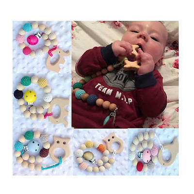 Infant Baby Wood Pacifier Clip Pendant Nature Round Wooden Teething Chewable Toy
