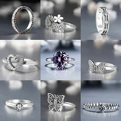 Brand Design Rings Wedding Engagement Hot Gift 925 Silver Jewelry US size 5-9
