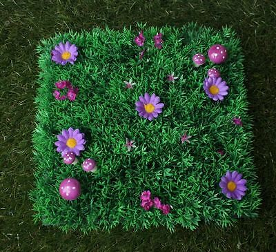 Fairy Grass Features Purple Flowers And Toad Stools Fairy Door Accessory