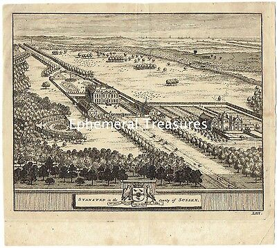 Stansted Hall, Sussex - C.1727 Engraving by Pieter van der Aa