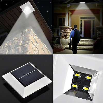 2X 2nd 4 LED Solar Powered Fence Gutter Light Outdoor Garden Wall Pathway Light