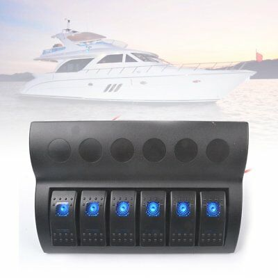 6 Gang Waterproof 12V/24V Led Car Marine Boat Led Rocker Switch Panel Breaker