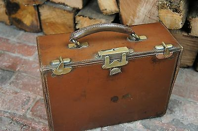 Solid Vintage English Leather Top Handled Box Case