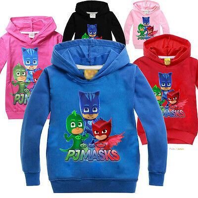 New Kids Girls Boys Hoodies PJ Masks Cartoon Jumper Pullover SweatShirt Top 3-7Y