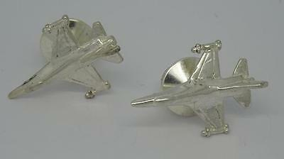 Pair Of Superb 835 Silver Fighter Jet Collar Studs / Lapel Pins-6.7 Grams