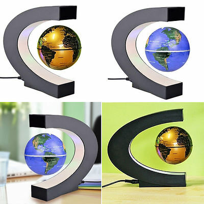 C Shape LED World Map Decoration Magnetic Levitation Floating Globe Light NEW@JH