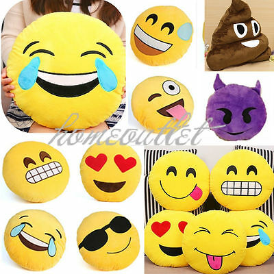 "Emoji Emoticon Round Cushion Poo Stuffed Soft 12"" Pillow Plush Xmas Gift R#"