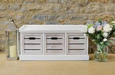 White Three Drawer Crate Bench Slatted Seating Hallway Bedroom Storage