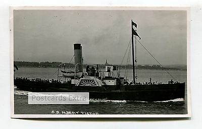 SS Albert Victor - paddle steamer off coast with passengers - old photograph