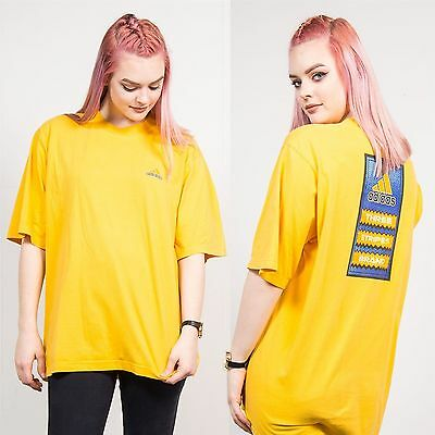 Adidas Bright Yellow Crew Neck T-Shirt Oversize Fit Short Sleeve Casual 16 18