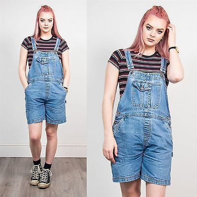 Vintage 90's Faded Blue Denim Short Length Dungarees Romper Strappy Nineties 10