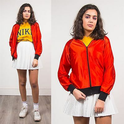 Womens Vintage Red Shiny Thin Bomber Jacket 90's Casual Retro Zip Fasten 8 10