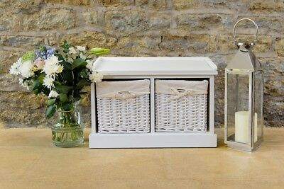 Two Drawer Wicker Seating Storage Bench Hallway Bedroom