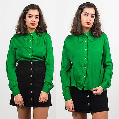 Vintage Womens 70's Shirt Blouse Top Plain Green Big Pointy Collar Casual 14
